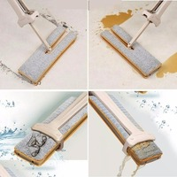 Double Sided Flat Mop Wet Dry Use Two Sets of Magic Wipes Telescopic Hand Push Home Cleaning Mop Self Wringing Ability