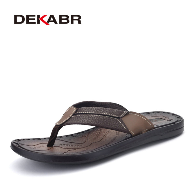 00842c9769e DEKABR New 2017 Summer Men Sandals High Quality Soft Beach Flip Flops  Rubber Sole Slippers For Men s Sandals Fashion Slippers