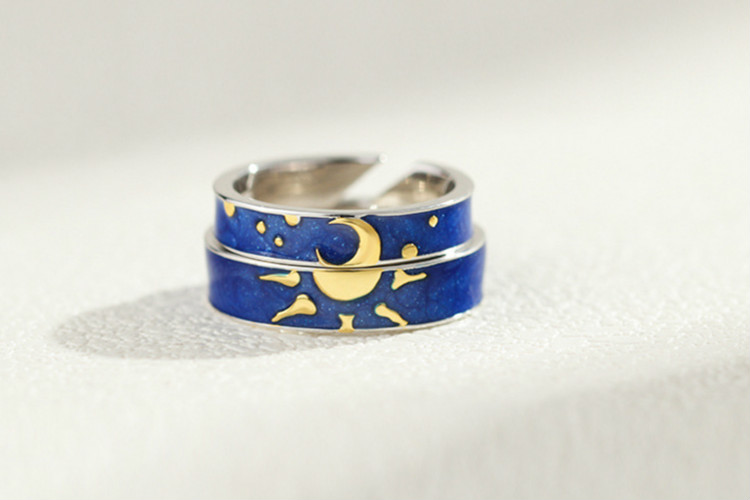 Flyleaf Blue Drop Glaze Golden Sun Moon loves Open Rings For Women Men 925 Sterling Silver Student Girl Gift Fashion Jewelry