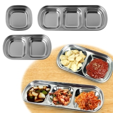 1-Grid/ 2-Grid/ 3-Grid Stainless Steel Assorted Salad Sauce Dipping Dish Tray Bowl Kitchen Tableware grid