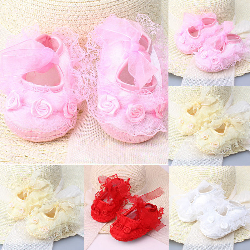 Cute Baby Girls Newborn Infant Baby Toddler Lace Frilly Flower Non-Slip Shoes First Walker