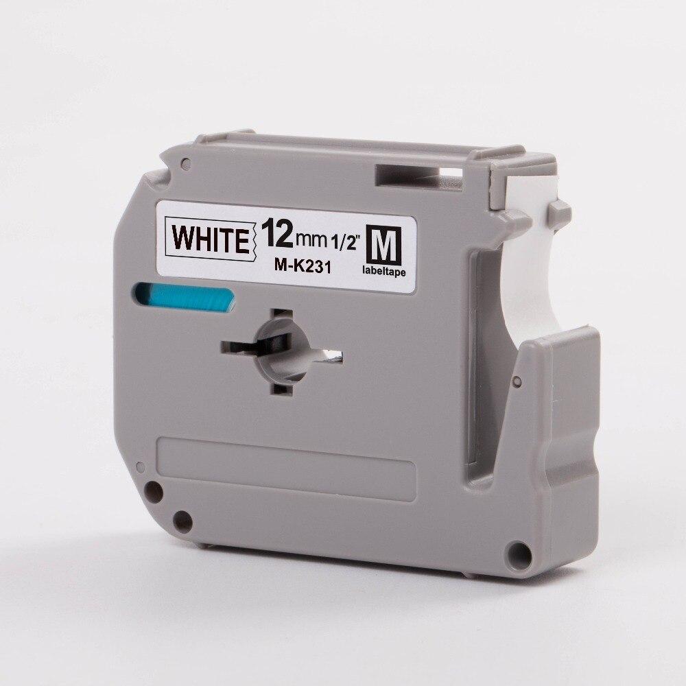 CIDY Compatible Brother M-K231 MK231 MK 231 MK-231 Black On White 12mm Thermal Label Tapes For PT-80 PT-70