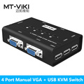 MT-VIKI 4 Port Manual VGA KVM Switch with USB Console and Original Cable, 1 set of keyboard & mouse controls 4 computer MT-460KL