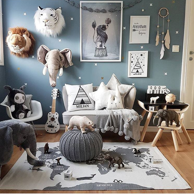 B INS Exclusive Adventure World Map Carpet 140x90cm Children Game Mat Baby Crawling Mat Rectangle Forest Highway Home Decoration