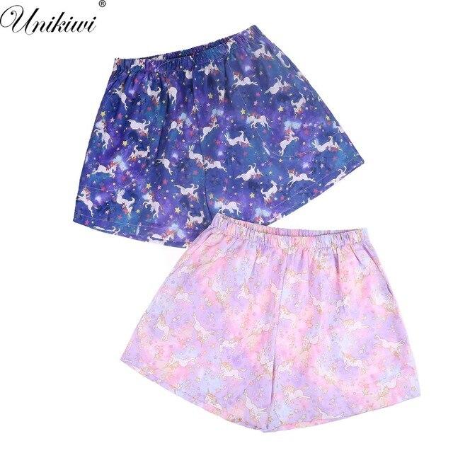 ee569da5e Women s Summer Sleep Bottoms Unicorn Printing Cotton Pajama Shorts Japanese  style Home Loose Pajama Pants Plus Size M-XL Lounge