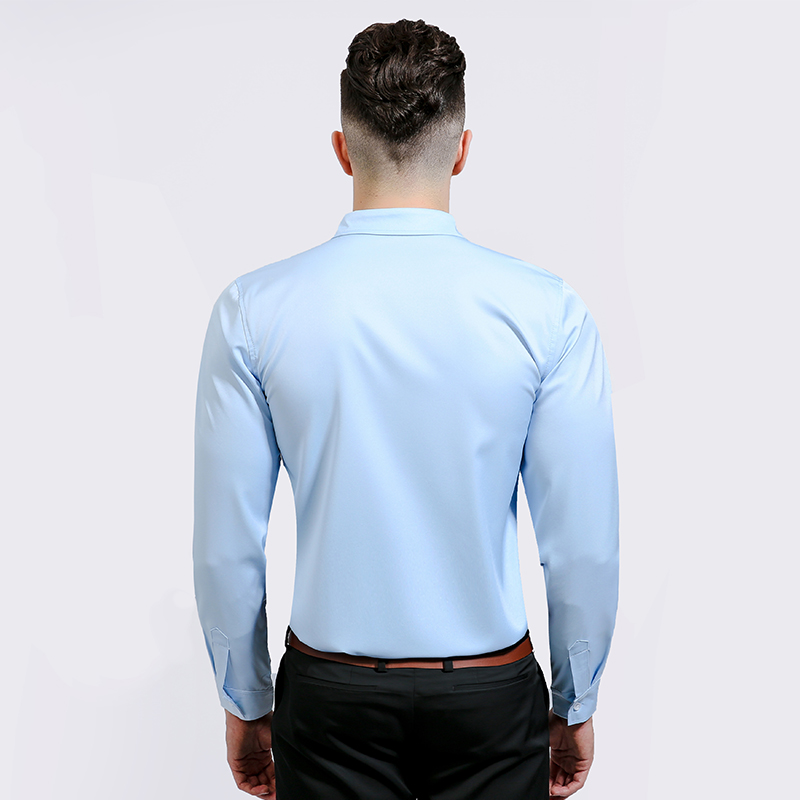 New Men Casual Dress Shirt Solid Long Sleeve Cotton Business Shirts Number Printed Camisa Social Masculina Male Slim Fit Shirts