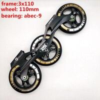 Frete grátis patins de velocidade frame 3x110 com rodas