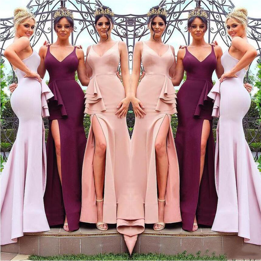 Sexy V-Neck Backless Wedding   Bridesmaid     Dresses   Ruched Front Slit Mermaid Wedding Party   Dresses   Robe Demoiselle D'honneur