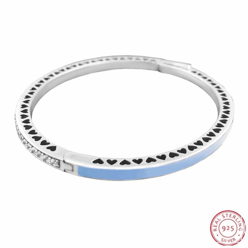 2017 Frühling Sammlung Air Blau Emaille & Clear Cz Radiant Herzen Armreifen Armbänder Für Frauen Silber 925 Schmuck Flb036 ZuverläSsige Leistung