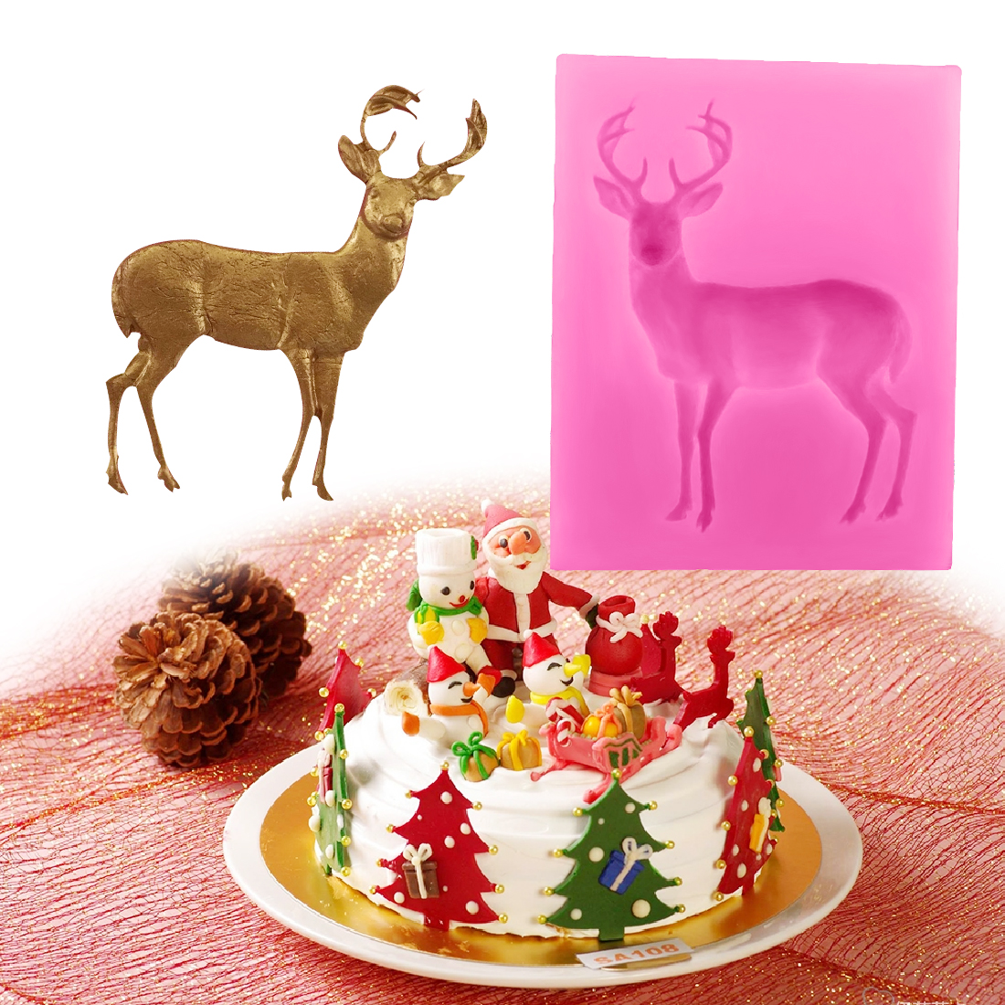 Pastry Tools 1PC Silicone Christmas Deer Shape Mold Soap Mould Fondant Cake Chocolate Stencils Cake Decorating Bakeware Cooking