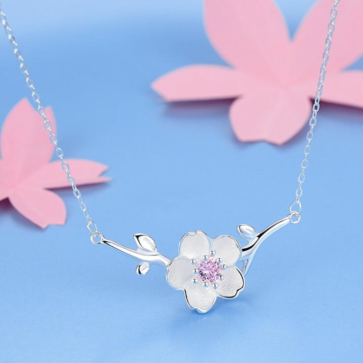 SMJEL 2017 New Fashion Blossom Cherry Flower Necklace women Flower Necklaces Pendants Vintage Accessories Necklaces Party Gifts