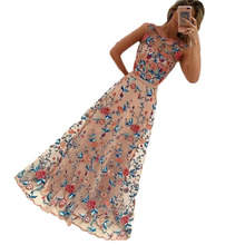 Vintage Style Multi Color Floral Embroidery Insert Mesh Maxi Dress Hot Summer Sleeveless Elegant Lady Party Wear Dresses Online