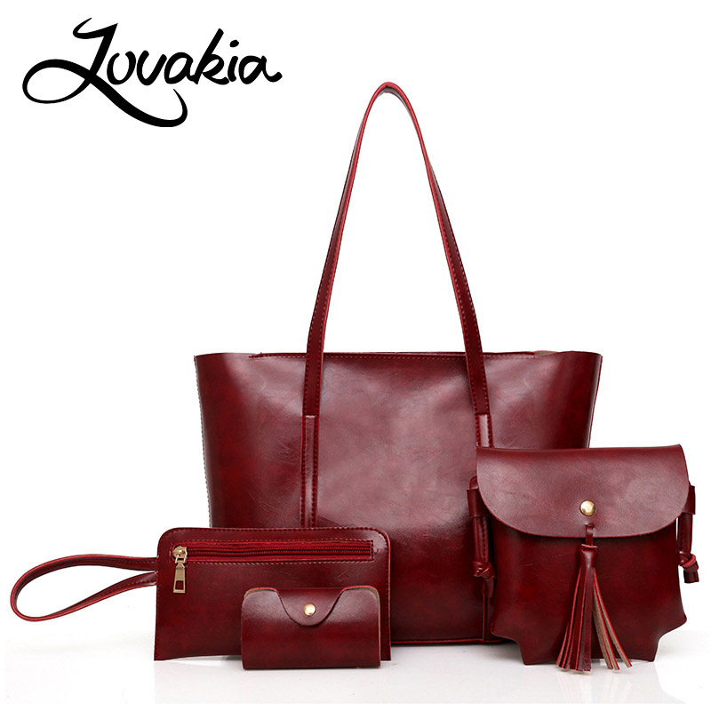 LOVAKIA famous designer brand 4 sets women casual tote ladies hand bags large bucket handbags shopping hand bag female bag frees