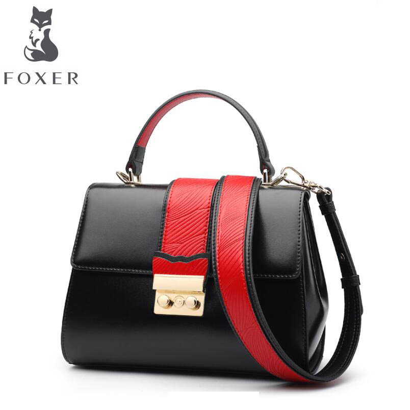 FOXER 2018 new cowhide women leather bag famous brands leather women bag fashion tote women leather shoulder Crossbody bags foxer 2018 new women leather bag designer fashion women famous brand cowhide small tote bag women leather shoulder bags