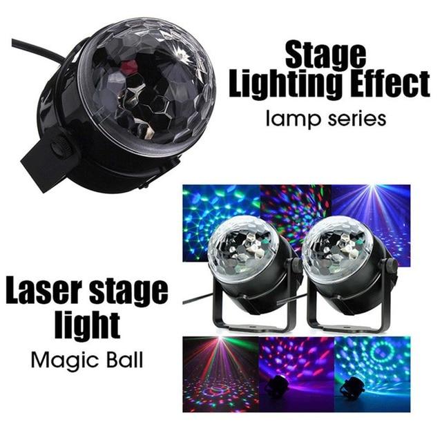 Led Stage Lights KTV DJ Lamps 3W EU/US Changable RGB Color Sound Actived Crystal Magic Disco Ball Xmas Holiday Party Light TR