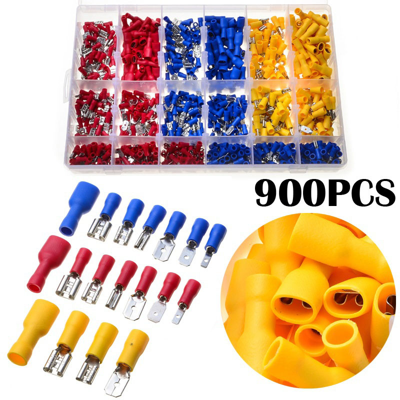 900pcs Mixed Electrical Wire Connector Crimp Insulated Spade Butt Splice Male Female Terminal Set @8 JDH99 1000pcs non insulated spade terminal snb3 5 6