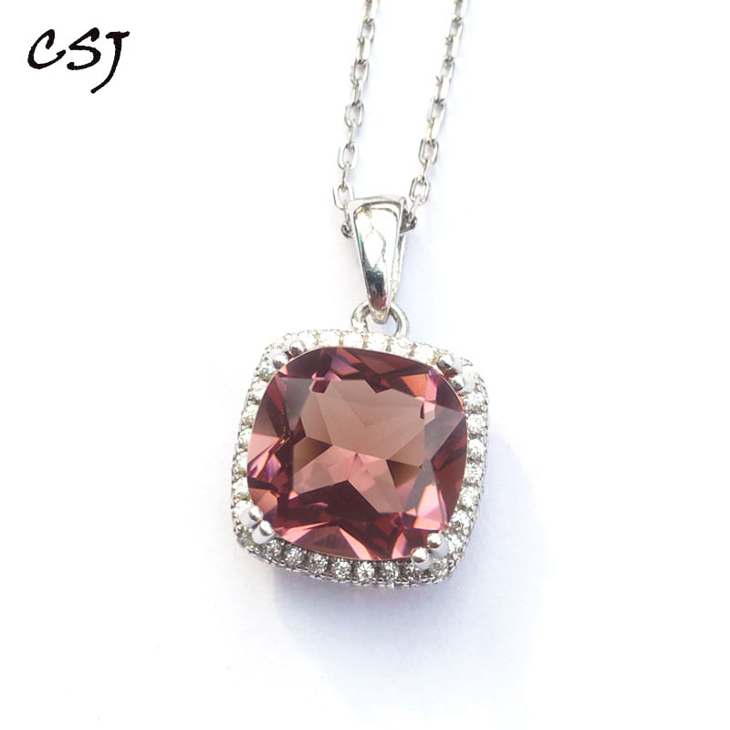 CSJ Classic Design Zultanite Pendant Sterling 925 Silver Cushion Created Sultanite Color Change Fine Jewelry Women Party Wedding