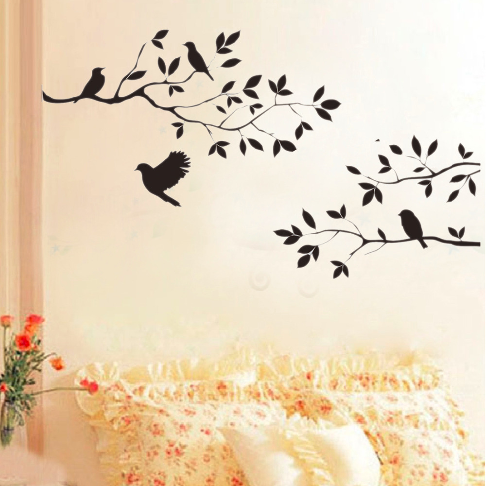 2015 New Black Bird Tree Branch Wall Paper Decals Removable Vintage Kitchen Wall Sticker Home Decoration