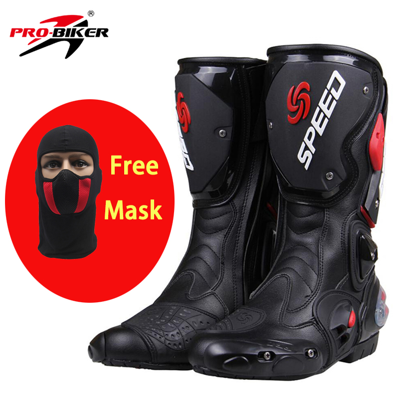 PRO-BIKER SPEED BIKERS Motorcycle Boots Moto Racing Motocross Off-Road Motorbike Shoes Black/White/Red Size 40/41/42/43/44/45