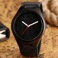 Preto de luxo de Bambu Natural De Madeira De Couro Genuíno Relógios de Quartzo Esportes dos homens Casual Vestido de Negócios Relógios Com Speical Mãos