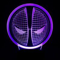 3D LED Deadpool Face Lamp Colorful Gradient Night Lights Deadpool Mask Table Lamp USB Creative Baby