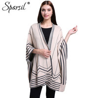 Sparsil Women Autumn Three Quarter Batwing Sleeve Cashmere Blend Cardigan Sweater Striped Contrast Colors Knitwear Open