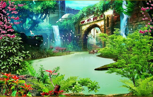 Us 1463 51 Off3d Wallpaper Custom Mural Non Woven 3d Room Wallpaper Landscape Painting A Paradise On Earth Mural Photo 3d Wall Mural Wallpaper In