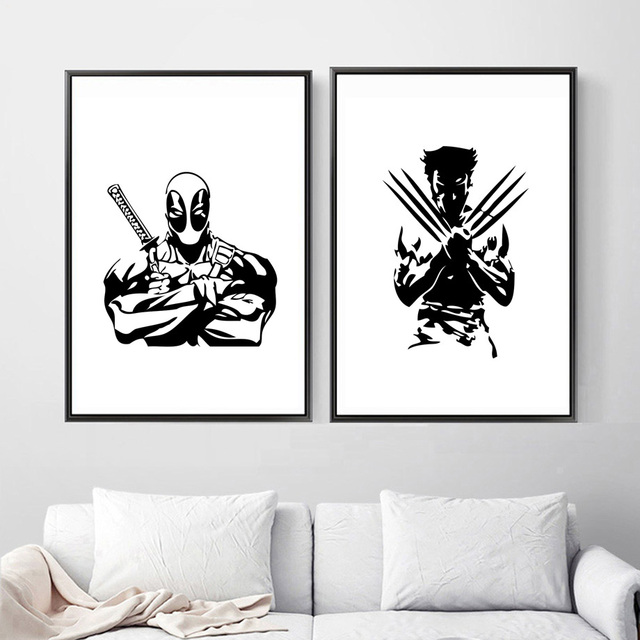 Deadpool Wolverine Marvel Poster Wall Art Print Black White Posters Prints Pop Paintings