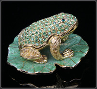 Frog on Lotus Jewelry Trinket Box Collectible Crystal Animal Casket Souvenir Home Decoration Gift (8.3*6.8*5.5 CM (L*W*H))