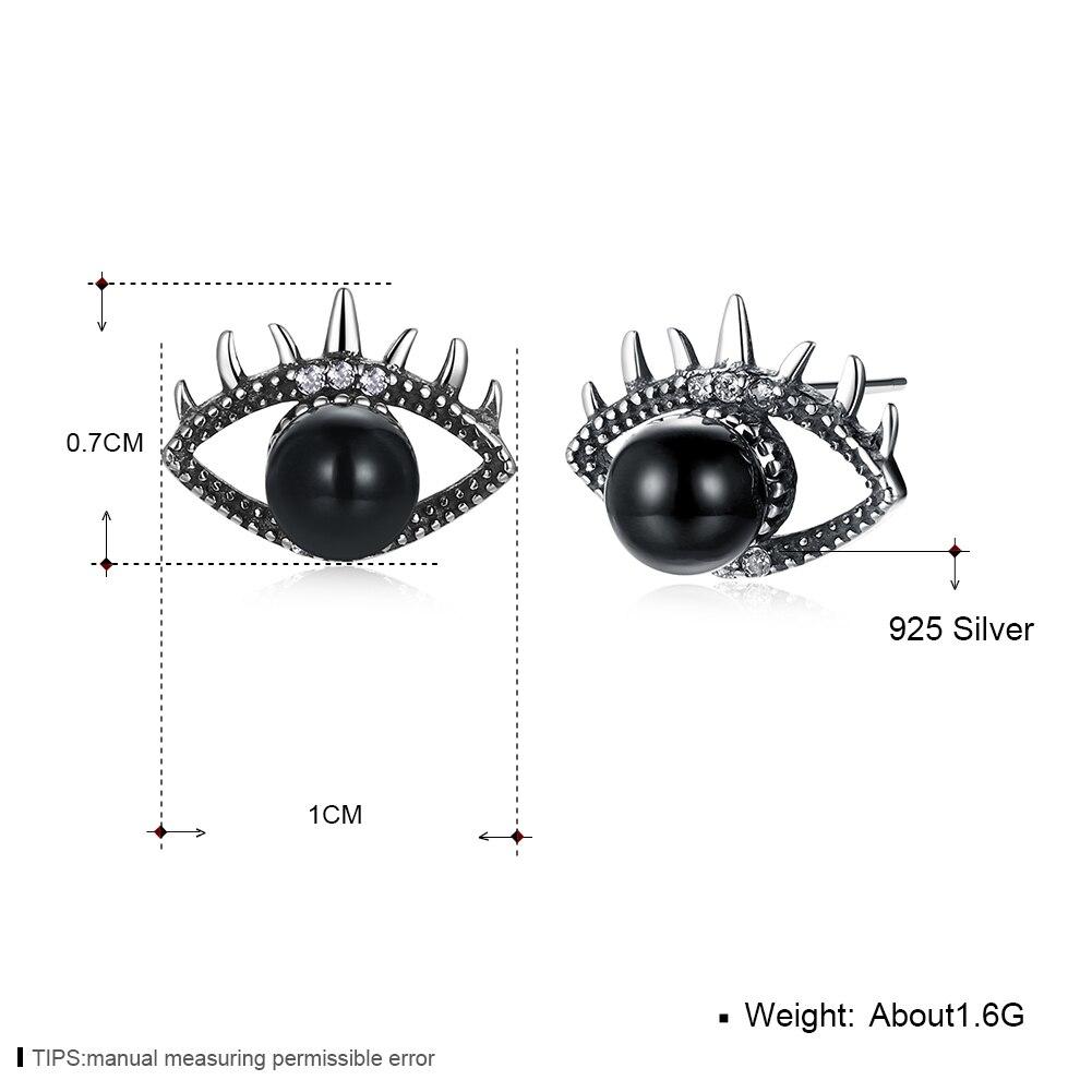 GOMAYA Retro Pearl Eyes Stud Earrings 925 Sterling Silver for Women Lady Girls Vintage Party Xmas Jewelry Original Best Gift in Earrings from Jewelry Accessories