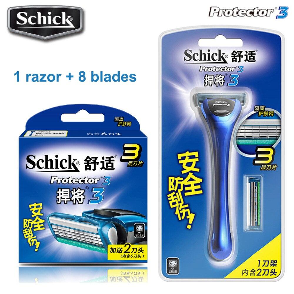 1 maquinilla de afeitar + 7 cuchillas Original Genuina Schick Protector 3d diamante maquinilla de afeitar para hombre hombre hoja de afeitar en stock