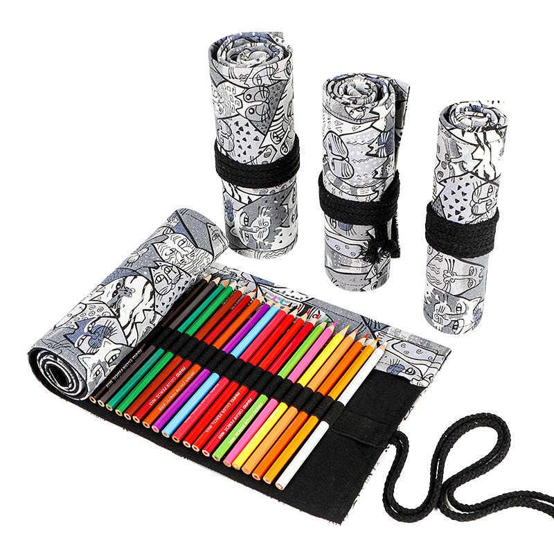 Kawaii Cat ROLL ดินสอขนาดใหญ่ 12/24/36/48/72 หลุม Penal ผ้าใบเครื่องสำอางค์ดินสอน่ารักปากกากระเป๋าเครื่องเขียนดินสอกระเป๋า