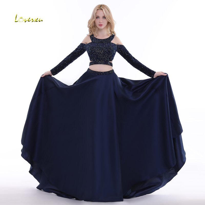 Loverxu Fashion Halter Neck Long Sleeve A-Line Long   Evening     Dress   2019 Luxury Beaded Backless Formal Party Gown Vestido de Festa