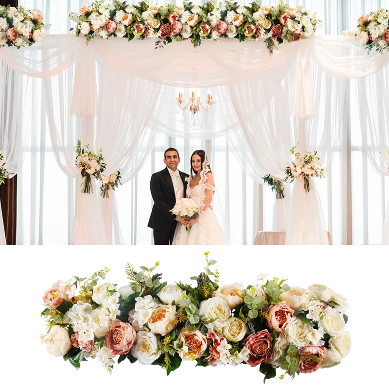 Patimate 1m Artificial Rose Flower Row Wedding Decor Flower Wall Road Cited Arched Door Shop Silk Flower Row Wedding Supplies