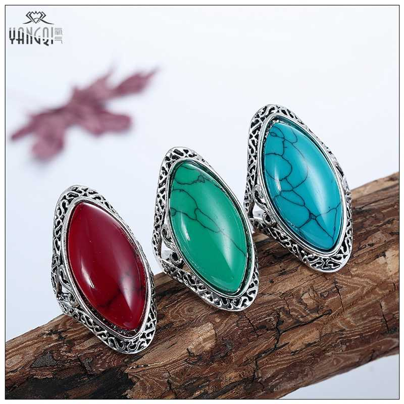 ชาย Vintage Bijoux สีเขียวไซเฟอร์แหวนหินเครื่องประดับธรรมชาติหิน Bague แกะสลักเงินทิเบต Anillos