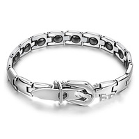 Wholesale Lot Men Women Magnetic Energy Titanium Stainless Therapy Bracelet Birthday Gift S005 Free Shipping