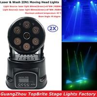 2Pcs Lot 80mw LED Moving Head Laser Lights Mini Led Wash 6X8W RGBW 4IN1 LED Stage