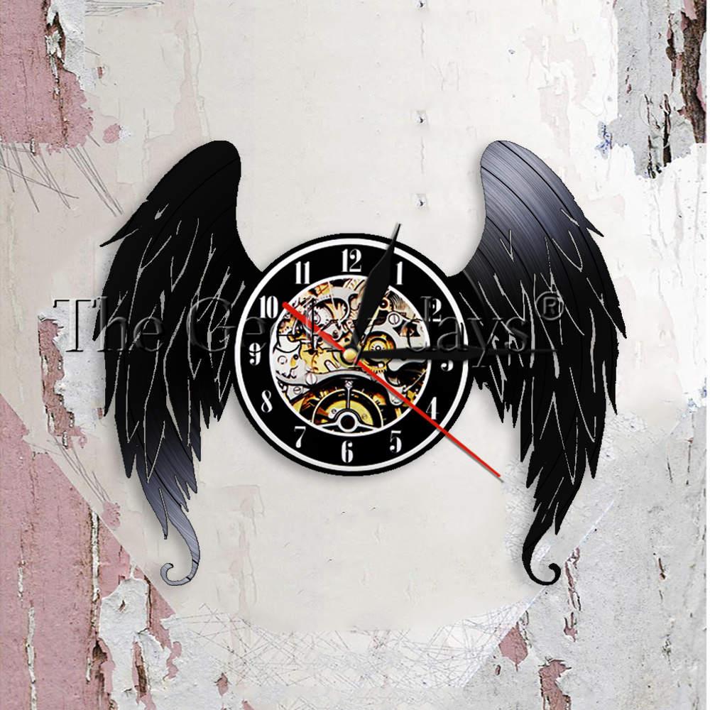 Elegant Angel Wings Shabby Chic Home Decor Wall Clock Angels Vinyl Record Wall Clock Guardian Angel Decorative Wall Watch Gift