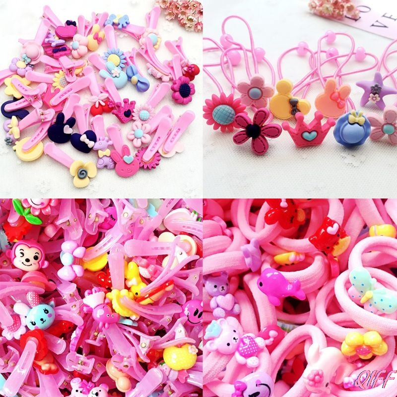 Drop&Wholesale Child Baby Girls Polished Plastic Hair Clip Cute Cartoon Animal Floral Elastic Rubber Band Ponytail Holder APR28