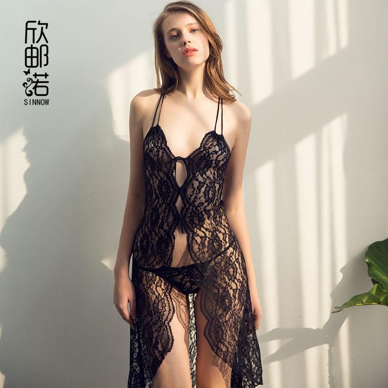 Svart spets Klänning Kvinnor Underkläder Sexig Appeal European Nightgown Nightwear Sexiga Natt Klänningar Genomskinlig Badrock