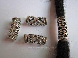 15 unids/lote de metal para el pelo con cuentas dreadlock puños anillos de tubo para accesorios de peluquería con agujero de 7mm aprox.