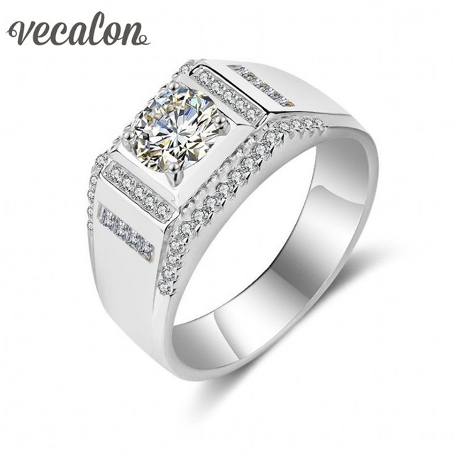 Vecalon Fine Jewelry Men wedding Band ring 1.5ct Simulated diamond Cz 925 Sterling Silver male Engagement Finger ring Width 12mm