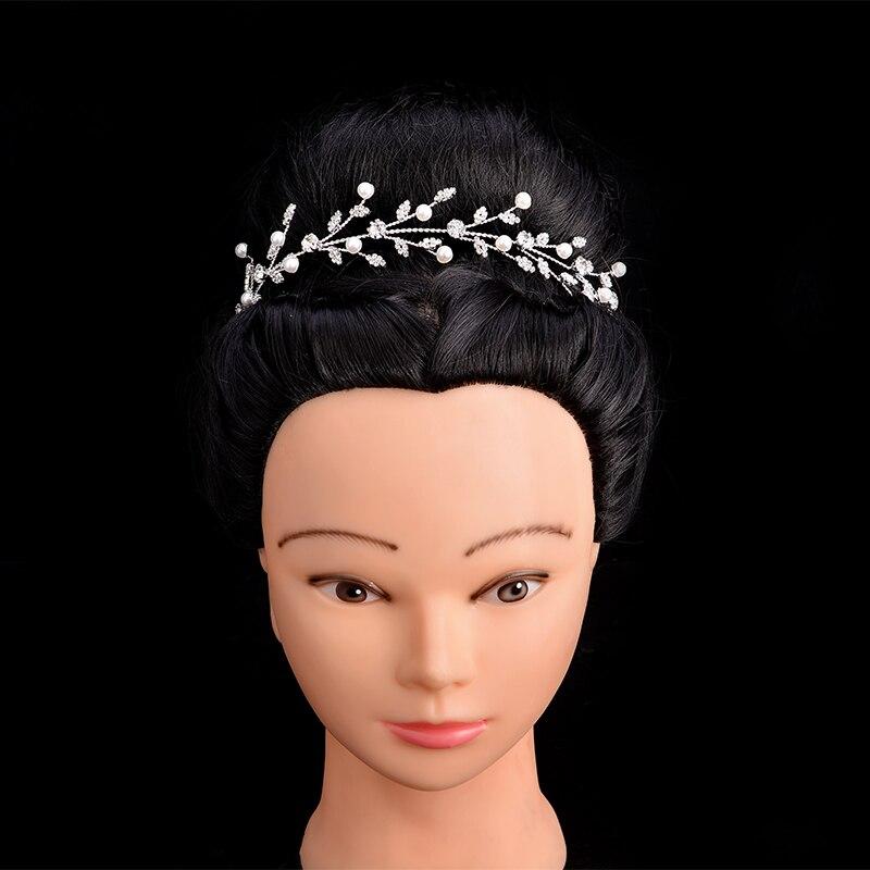 Crown HADIYANA Braut Hochzeit Haar Zubehör Schöne Perle Blätter Design Elegante Für Frauen Zirkon BC5053 Haar Sieraden Bruiloft