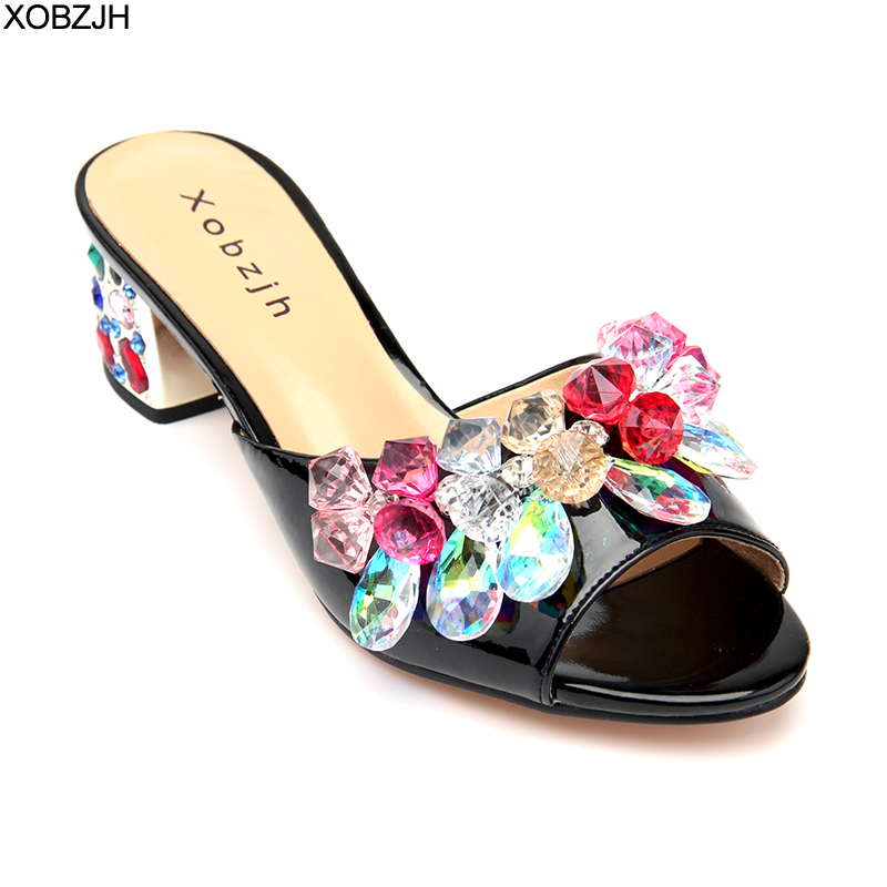 Image 2 - Luxury Sandals Women Shoes 2019 Leather Black Crystal High Heels Peep Toe Rhinestone Brand designer Sandals wedding Shoes Woman-in High Heels from Shoes