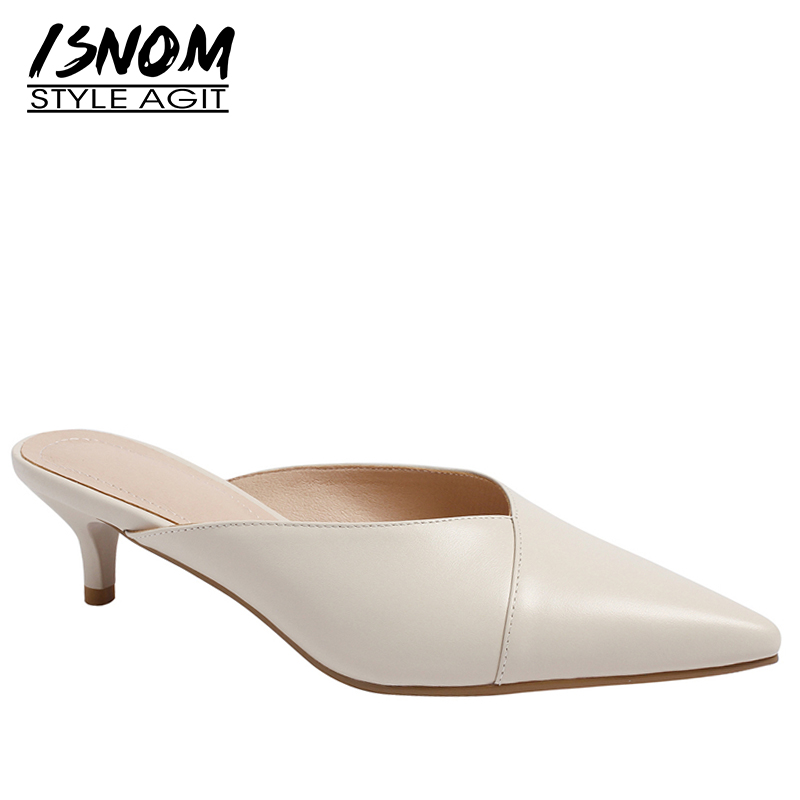ISNOM Genuine Leather Woman Slippers Pointed Toe Footwear Thin Heels Slides Female Shoes Mules Shoes Women