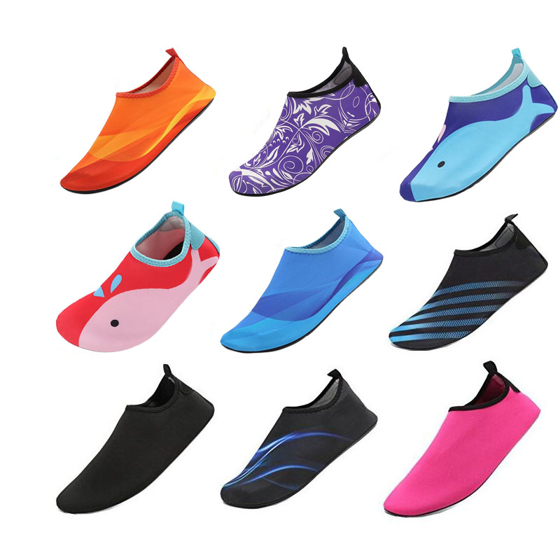 Kids Quick Drying Swim Water Shoes Casual Footwear Barefoot LightWeight Aqua Socks For Beach Pool Cartoon Children Slippers(China)