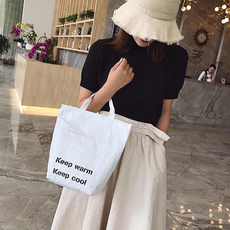 Einkaufstasche Umwelt Schutz Papier Reusable Einkaufstaschen Leichte Handtasche für Frauen Beste Verkauf-WT