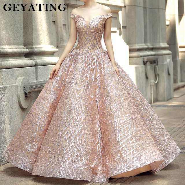 Sparkly Rose Gold Sequined Ball Gown Wedding Dress Princess Off