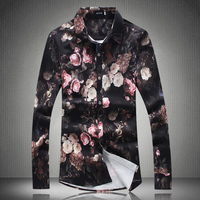 High Quality Floral Shirts for Men 2019 New Fashion Flowers Men Shirt Long Sleeve Slim Fit Camisa Masculina M 5XL #18106