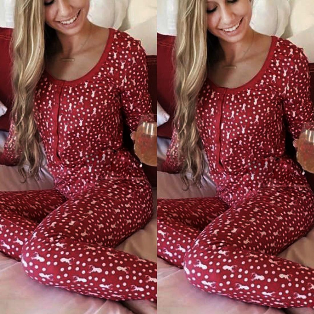 2dff70b56888f Rouge Imprimé Floral De Noël Pyjamas Femmes Deux Pièces Ensemble Homewear  Automne Hiver Pyjamas À Manches Longues Mince vêtements de Nuit des Femmes  dans ...